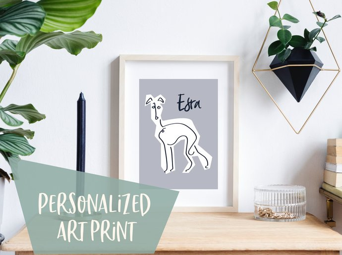 Personalized whippet print, customized greyhound print, custom name line art