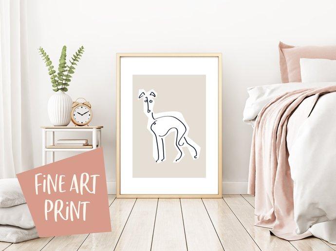 Whippet print, greyhound print, line art print, dog print, wall art, whippet