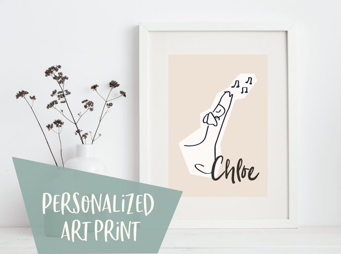 Personalized whippet print, musical dog print, customized greyhound print,