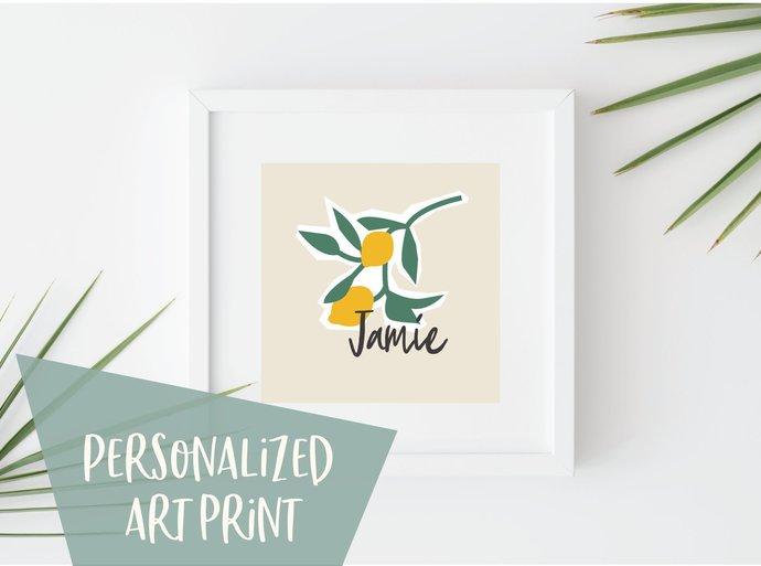 Personalized Lemon print, customized kitchen print, citrus print, food print,