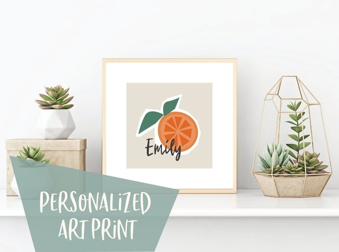 Custom name orange fruit print, personalized tropical art, kitchen print