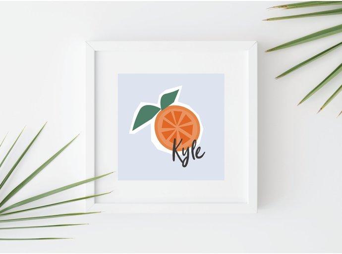 Custom name orange fruit print, personalized tropical art, kitchen print