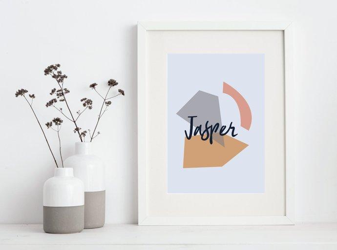 Personalized Abstract geometric print, custom name, customized minimalist art