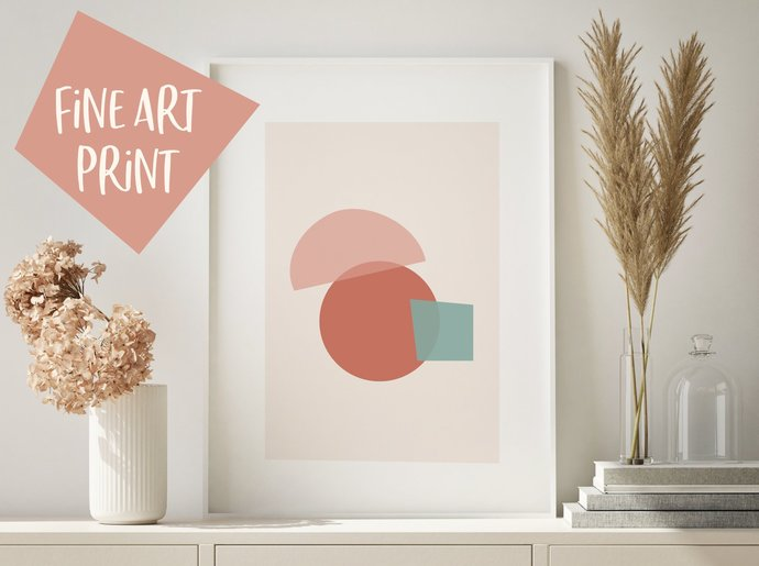 Modern and bright abstract shapes art print