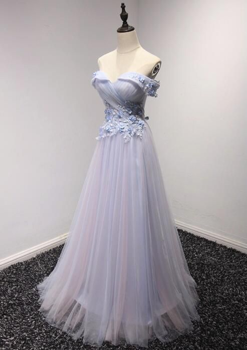 Light Blue Tulle Off Shoulder Charming Party Dress, Prom Dress 2019, Formal