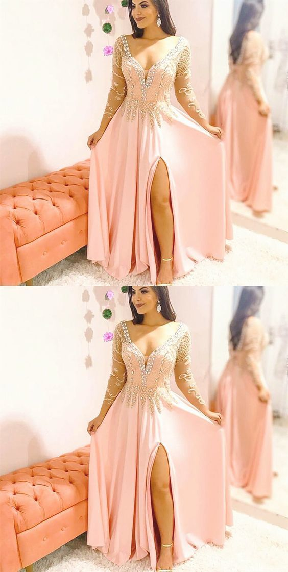 A-Line V-Neck Long Sleeves Pink Beaded Long Prom Dress with Beading