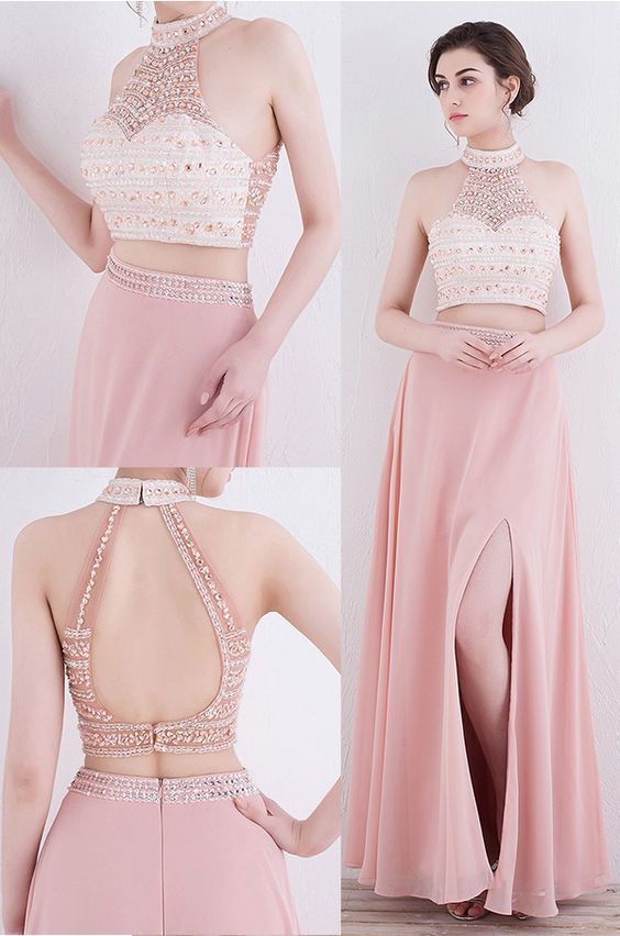 Two Piece High Neck Pearl Pink Chiffon Prom Dress with Beading Open Back Slit