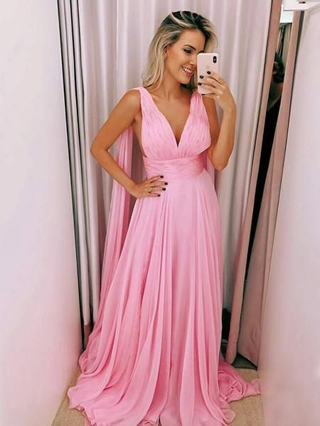 A-Line Deep V-Neck Sleeveless Pink Chiffon Long Prom Dresses