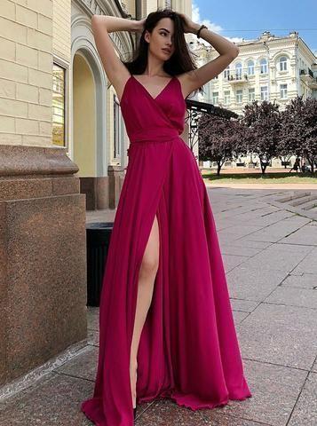 V-Neck Long Sleeveless Red Satin Prom Dress with Split