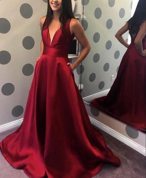 Simple V-neck Prom Dress Long, Evening Dress, Dance Dresses, Graduation School