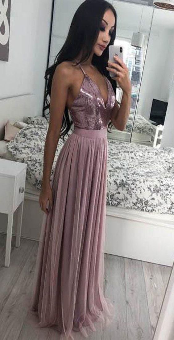 Halter Long Prom Dresses with Sequins