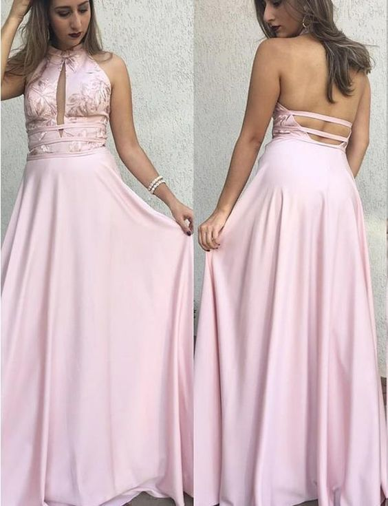 Halter Backless Pink Prom Dresses Stain Evening Dresses With Appliques