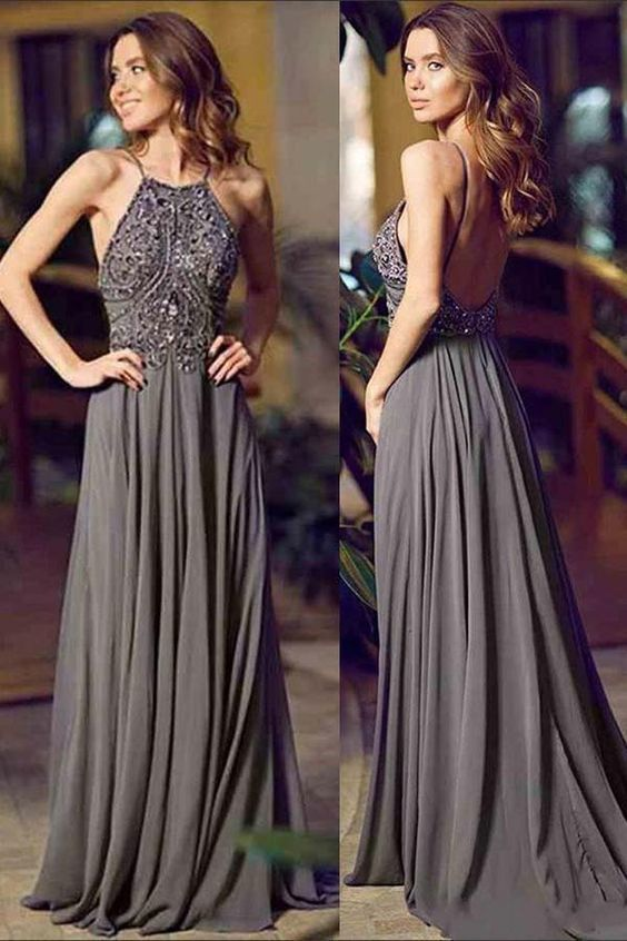 A-Line Halter Sleeveless Floor-Length Backless Grey Chiffon Prom Dress