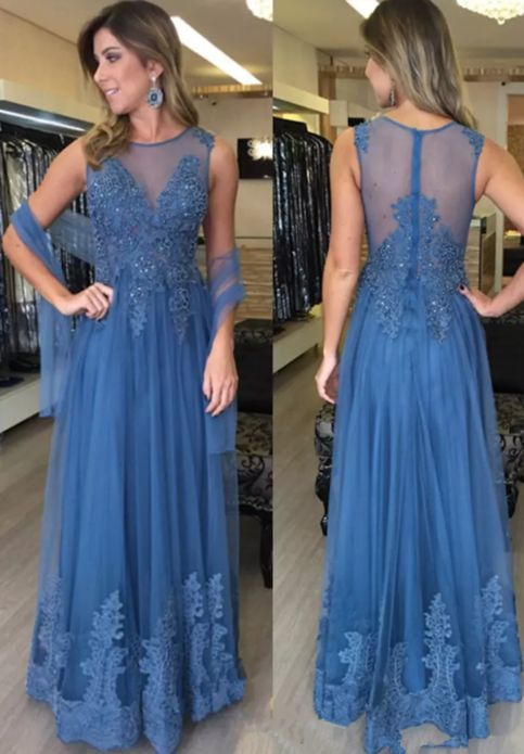 Glamorous Jewel Neck Long Evening Dresses Prom Dresses Appliques Tulle Beaded