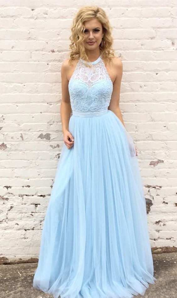 Blue long prom dress, halter prom dress, graduation dress, formal evening dress