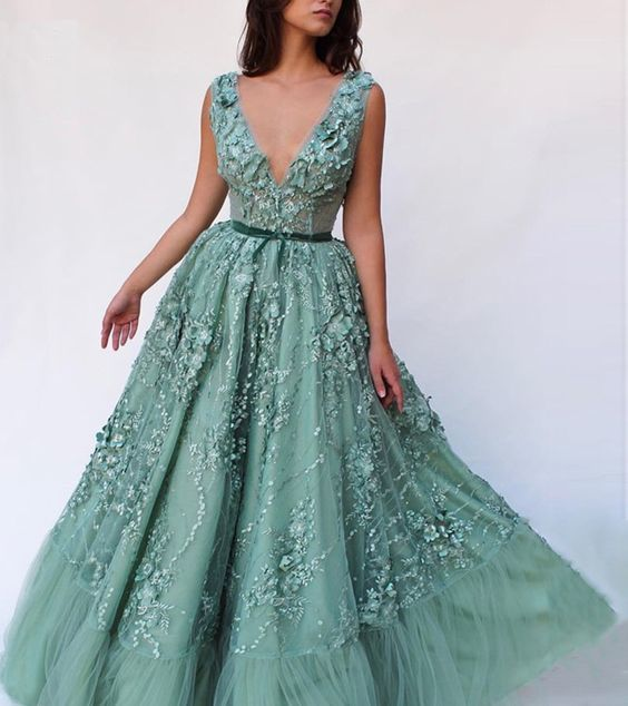 2019 New 3D Lace Applique Green Tulle V Neck Long Evening Dress, Formal Prom