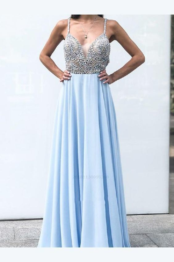 Discount Beautiful Long Evening Dress, A-Line Prom Dresses, Evening Dress Blue,
