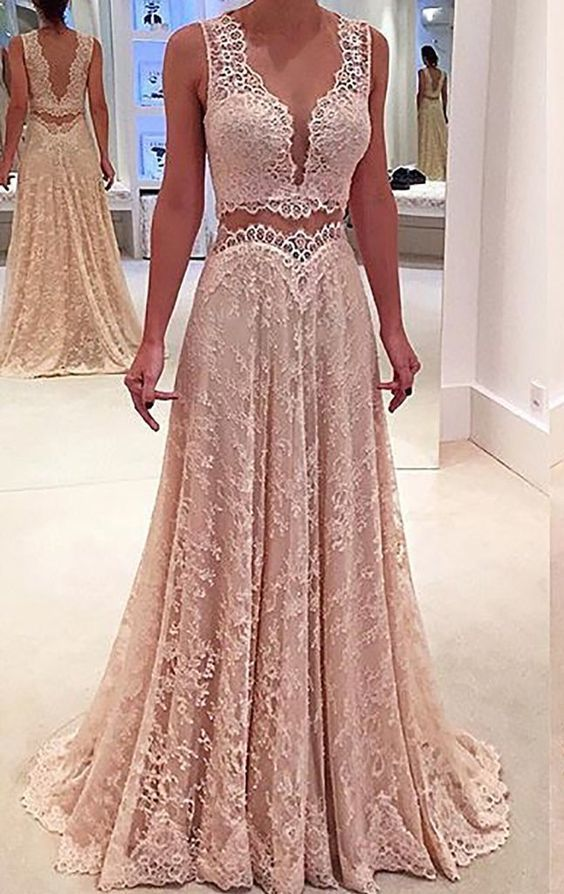 Two Piece V Neck Lace Long Prom Dress Formal Party Gown