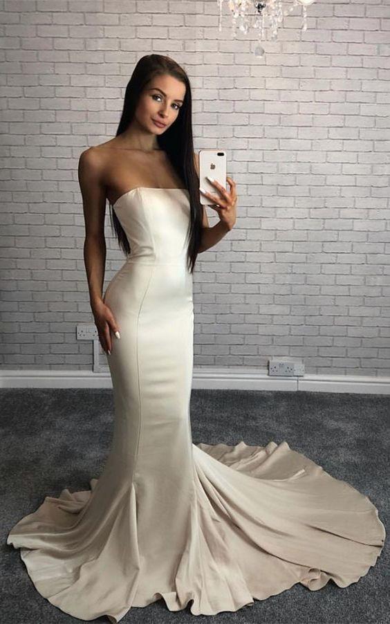 Mermaid Strapless Sweep Train Ivory Satin Prom Dress