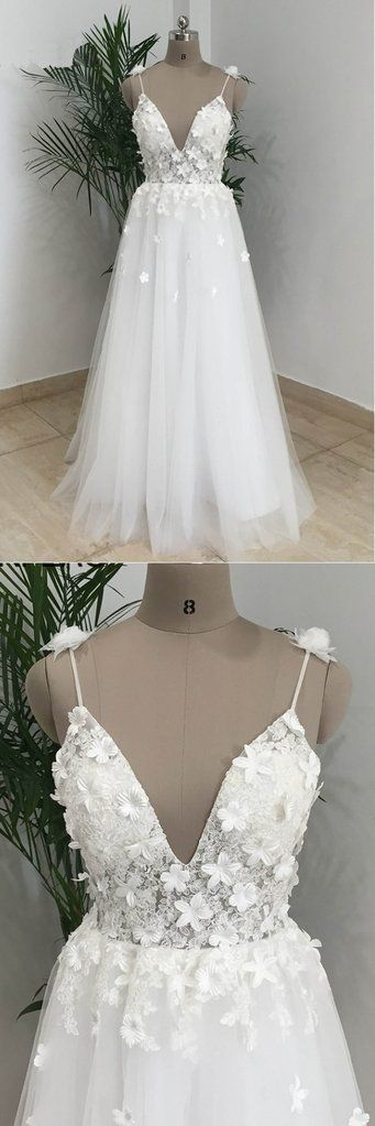 Simple White Tulle V Neck Beach Wedding Dress, Long Spaghetti Straps Prom Dress