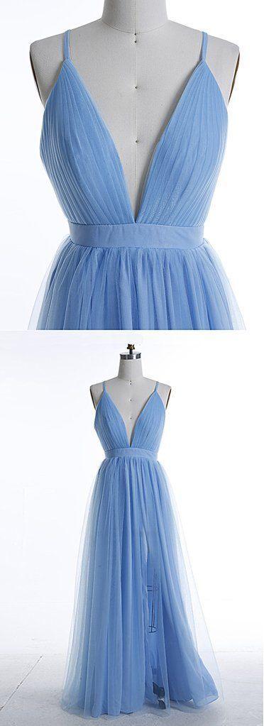 Blue Tulle Sexy V Neck Backless Long Prom Dress, Slit Party Dress