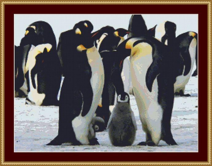Emperor Penguins Cross Stitch Pattern - Instant Digital Downloadable Pattern