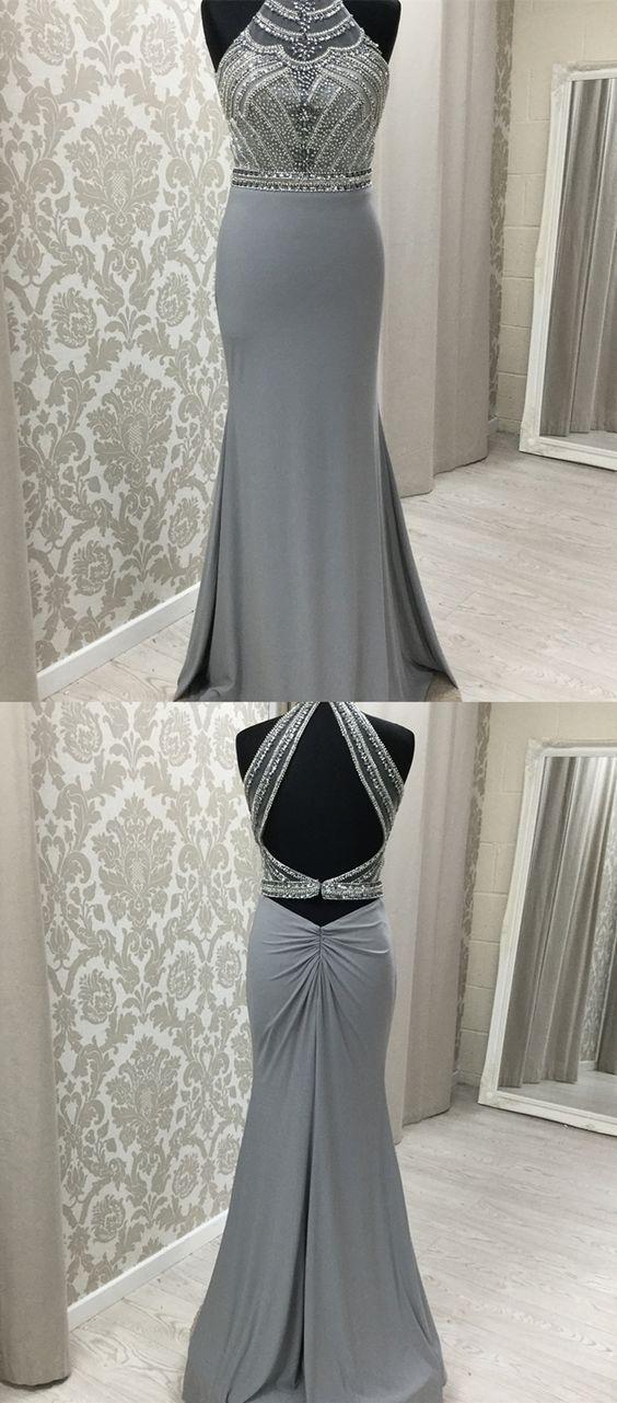 Pretty Elegant Two Piece Grey Long Prom Dresses, Unique Beading Bodice Party