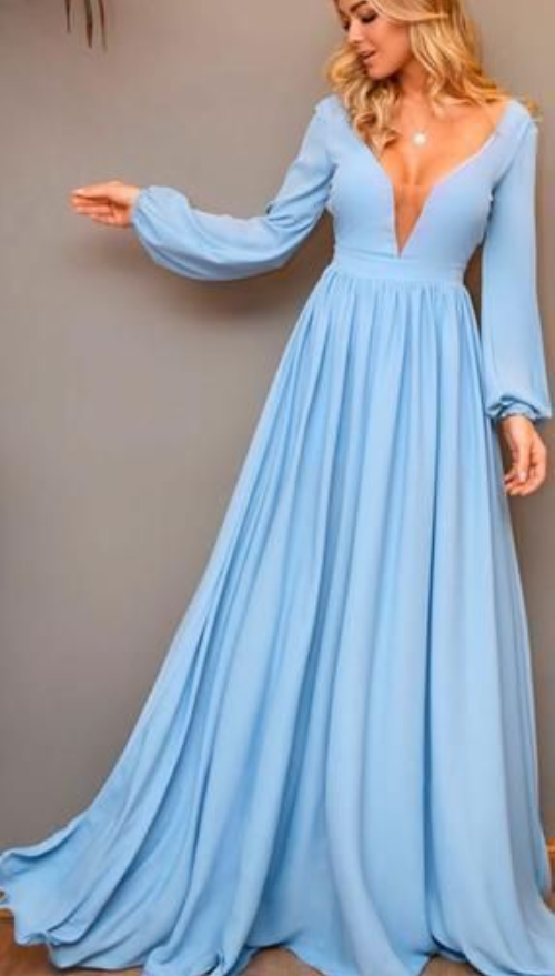 Pale Blue Satin Chiffon Long Sleeve A-line Prom Dresses