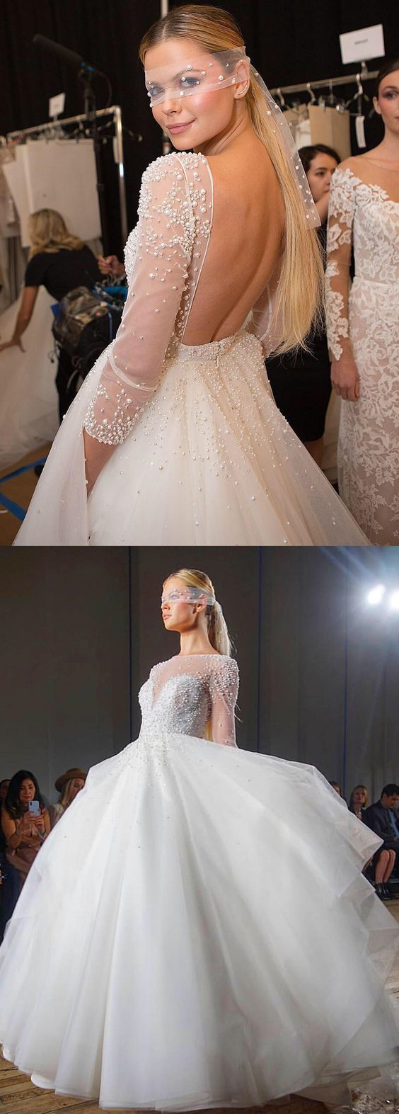 Elegant Long Sleeves White Wedidng Dress with Pearls, Backless Bridal Gowns