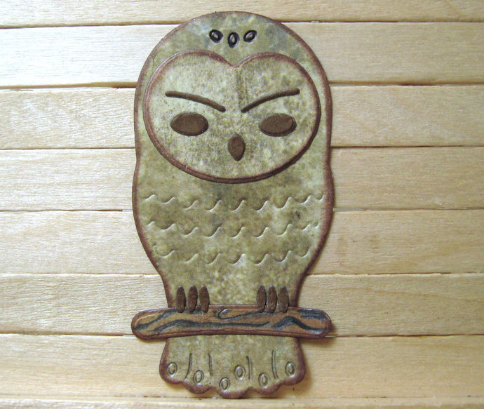 Small Owl on Branch Metal Cutting Die Style #2