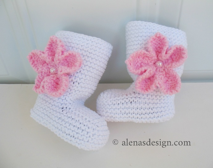 Knitting Pattern 229 Baby Booties with Embellishments High-Top Baby Booties