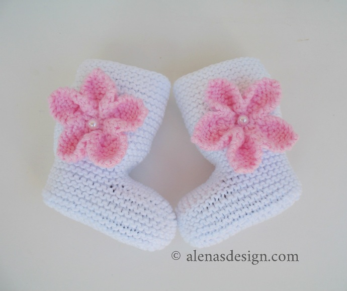 Baby Booties with Embellishments Knitting Pattern 229 High-Top Baby Booties