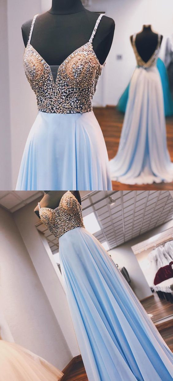 Princess Beaded Blue Chiffon Long Prom Dress