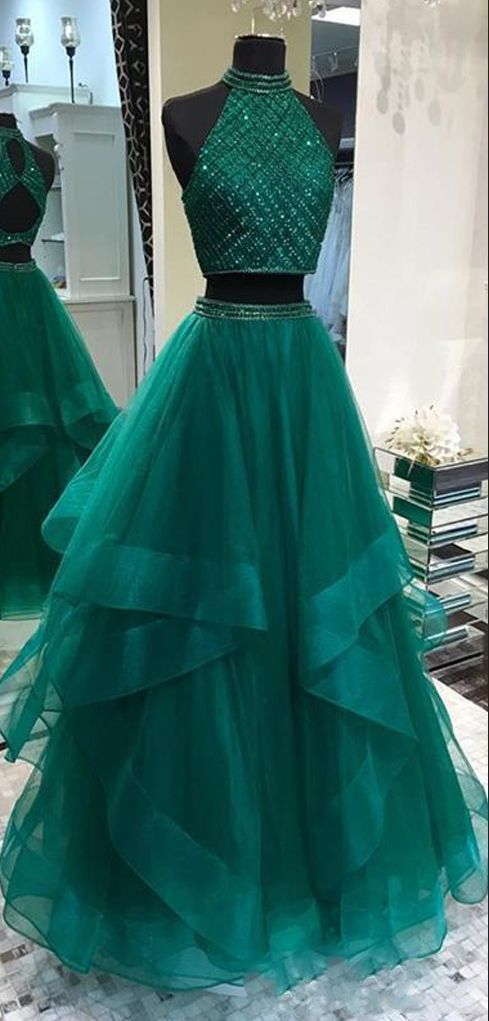 Fabulous Halter Two Pieces Green Open Back Long Prom Dresses