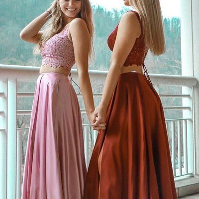 Gorgeous Two Piece Prom Dresses, Pink Long Prom Dresses, Burgundy Prom Dresses,