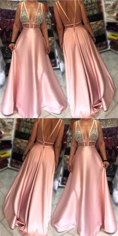 V neck Satin Evening Dress, Pink Floor Length Evening Prom Gowns