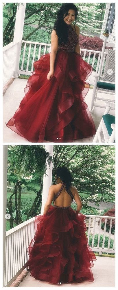 Burgundy Backless Prom Dress,Long Evening Dress,Evening Dress,Sweet 16