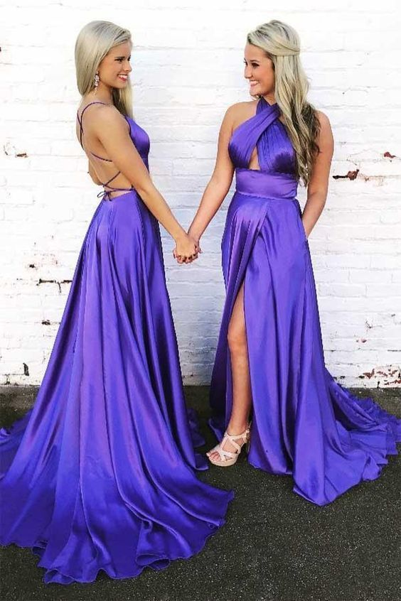 Gorgeous Halter Satin Long Prom Dress Evening Dress with Open Back