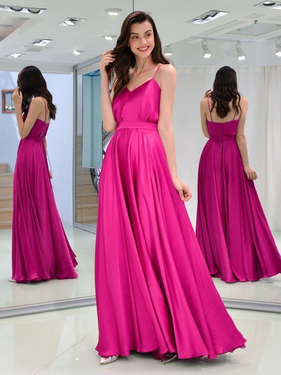 Charming A Line Sweetheart Spaghetti Straps Satin Fuchsia Long Prom Dresses,