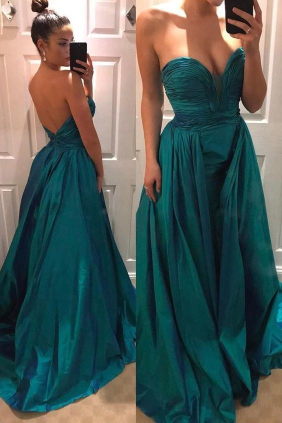 Green Taffeta Pleated Strapless Sweetheart Open Back Prom Dress