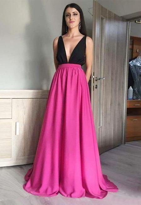 Prom Dress Deep V Neckline, Evening Dress, Formal Dresses, Graduation School