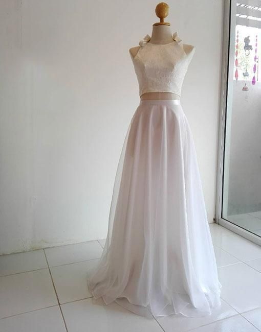White two pieces long prom dress, evening dress