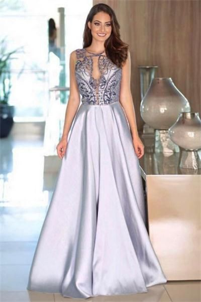 Modest Long A-line Beading Satin Sleeveless Elegant Prom Dresses Party Dresses