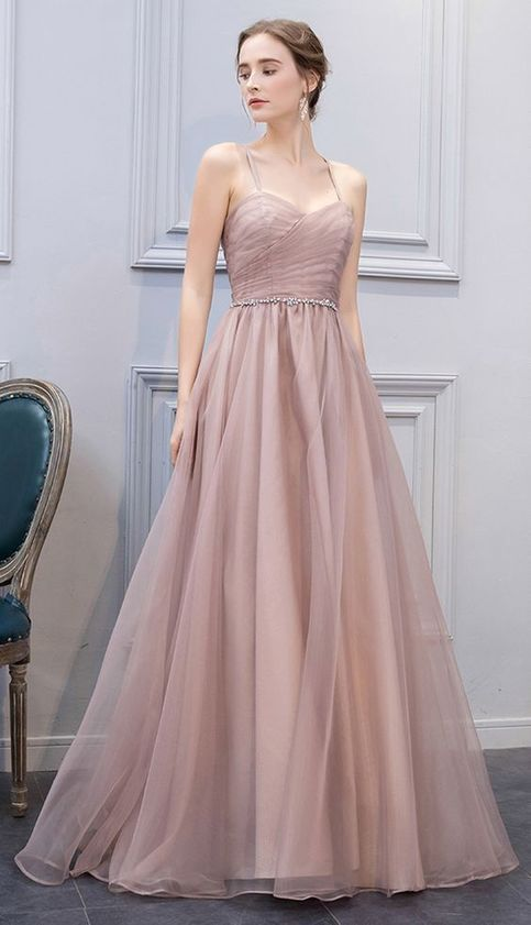 A-Line prom dress Sweetheart Champagne Long Prom Dress,Evening Dress with tulle