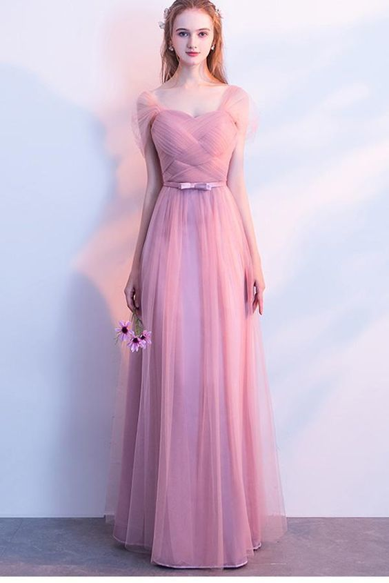 Elegant A-Line Pink Tulle Off the Shoulder Sweetheart Lace up Prom Bridesmaid