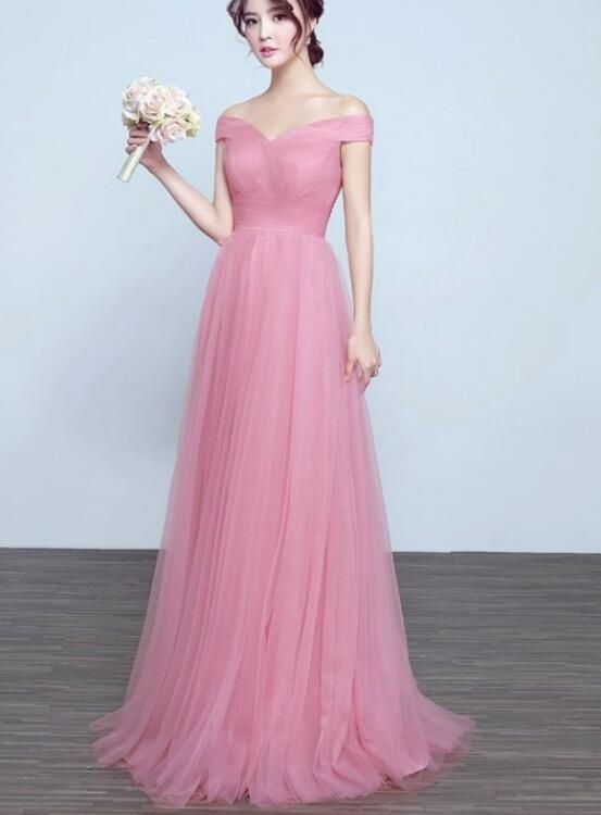 Lovely Pink Tulle Long Wedding Party Dress, Charming Tulle Gown 2019