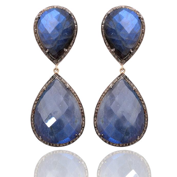 14K gold Labradorite Diamond Sterling Silver Gemstone Earring,Labradorite