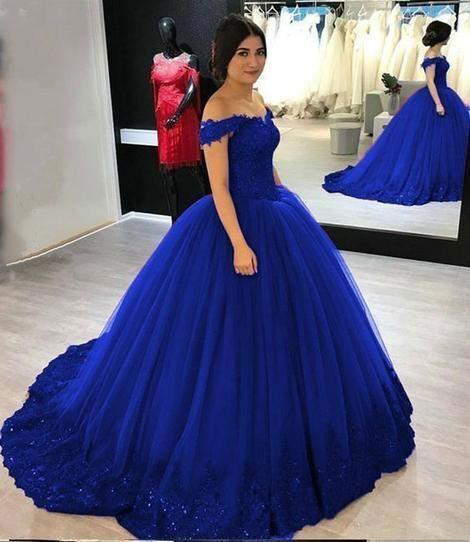 Off the Shoulder Royal Blue Ball Gown Prom Dresses Pageant Dresses with