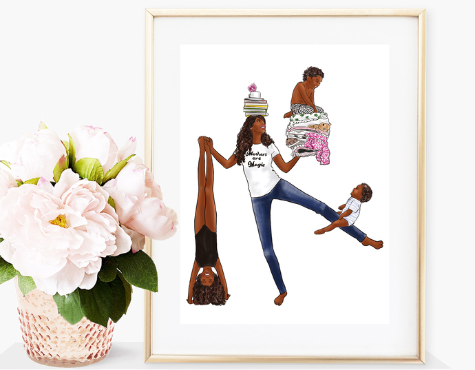 Watercolor fashion illustration - Mothers are Magic - Dark Skin