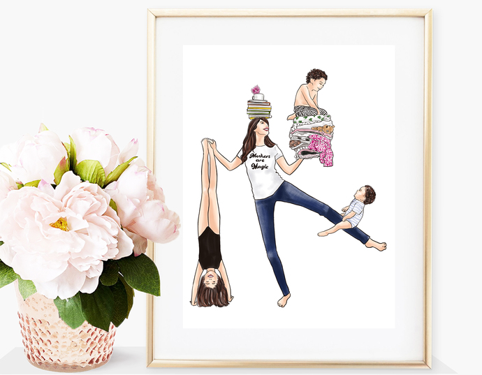 Watercolor fashion illustration - Mothers are Magic - Light Skin